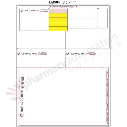 "Custom 8.5"" x 11"" Prescription Laser Label - Form LM584"