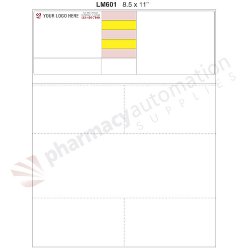 "Custom 8.5"" x 11"" Prescription Laser Label - Form LM601"