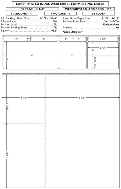 "Custom 8.5"" x 11"" Prescription Laser Label - Form LM648"