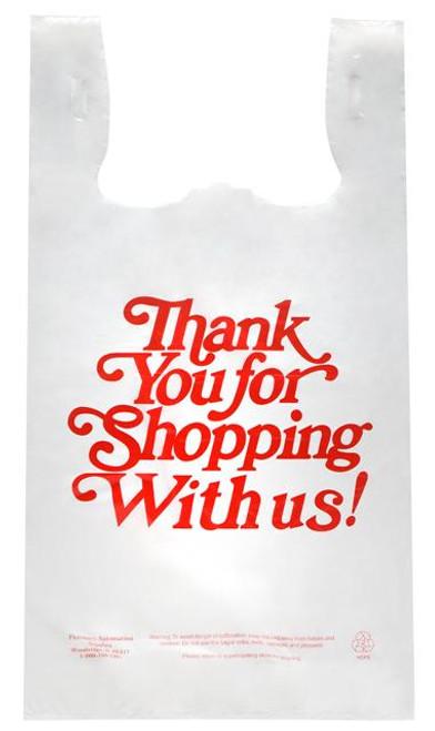 "Stock Thank You Printed 11.5"" x 6.5"" x 21"" Plastic T-Shirt Style Bag"