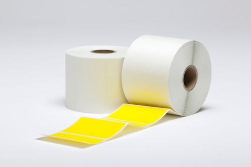 """Stock Yellow Thermal Transfer Labels - 2.5"""" x 1"""""""
