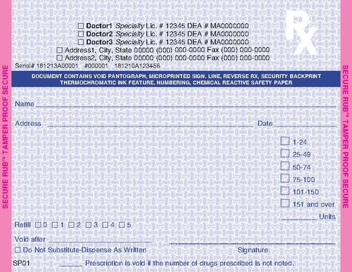 5.5 x 4.25 2-Part Prescription Pad for California, Landscape