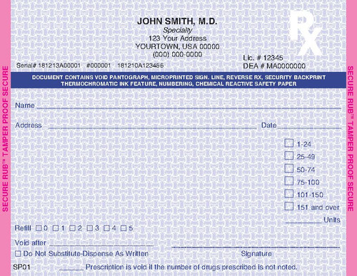 5.5 x 4.25 1-Part Prescription Pad for California, Landscape