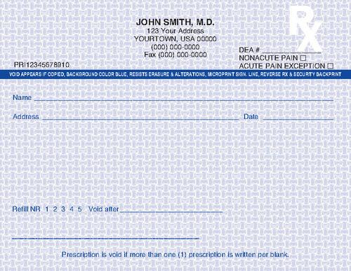 5.5 x 4.25 1-Part Prescription Pad for Florida, Landscape
