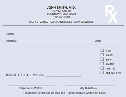 5.5 x 4.25 1-Part Prescription Pad for Indiana, Landscape