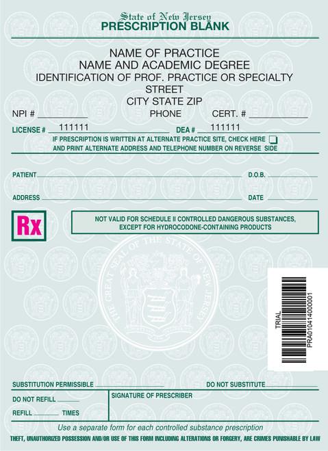 4 X 5.5 2-Part Prescription Pad for New Jersey, Portrait, #3