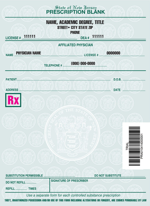 4 X 5.5 2-Part Prescription Pad for New Jersey, Portrait, #5