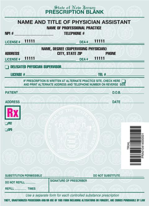 4 X 5.5 2-Part Prescription Pad for New Jersey, Portrait, #8