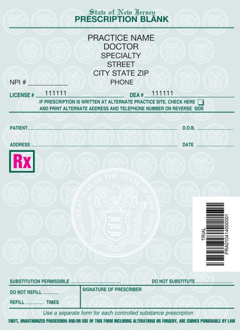 4 X 5.5 1-Part Prescription Pad for New Jersey, Portrait, #1