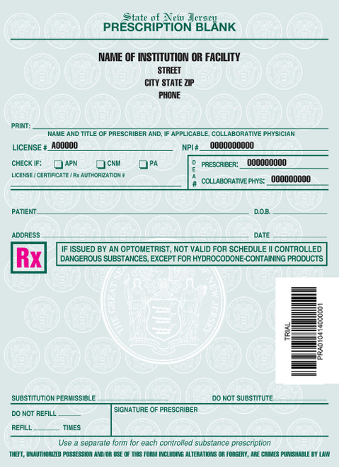 4 X 5.5 1-Part Prescription Pad for New Jersey, Portrait, #2
