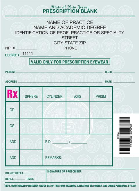 4 X 5.5 1-Part Prescription Pad for New Jersey, Portrait, #6