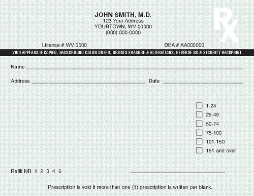 5.5 x 4.25 2-Part Prescription Pad for Wyoming, Landscape