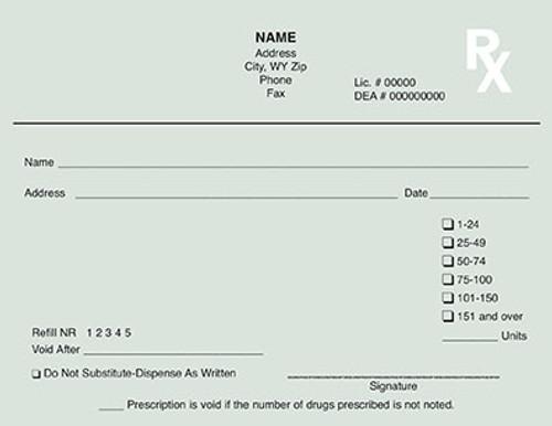 5.5 x 4.25 1-Part Prescription Pad for Wyoming, Landscape