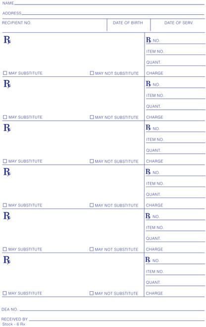 5.5 x 8 Non Tamper Resistant Stock Rx Blanks