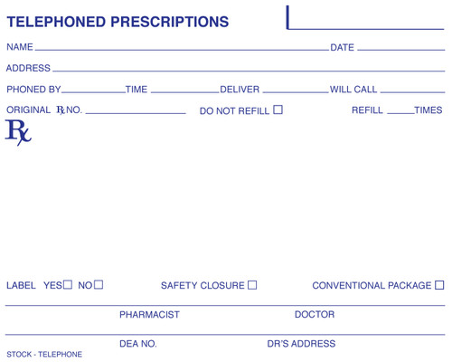 5 x 4 Non Tamper Resistant Stock Telephone Prescription Pads