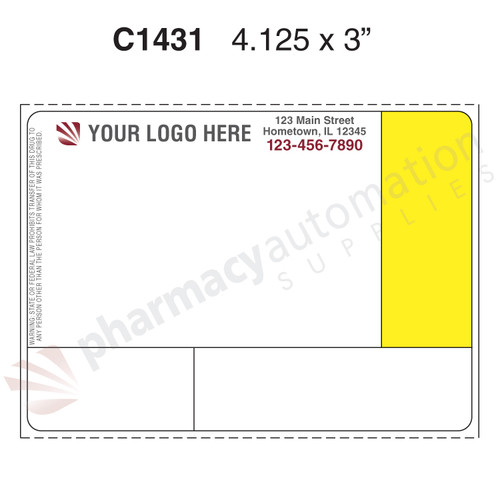 "Custom 4.125"" x 3"" Thermal Transfer Rx Label -Form C1431"