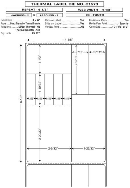 "Custom 4.125"" x 6.125"" Thermal Transfer Rx Label - Form C1573"