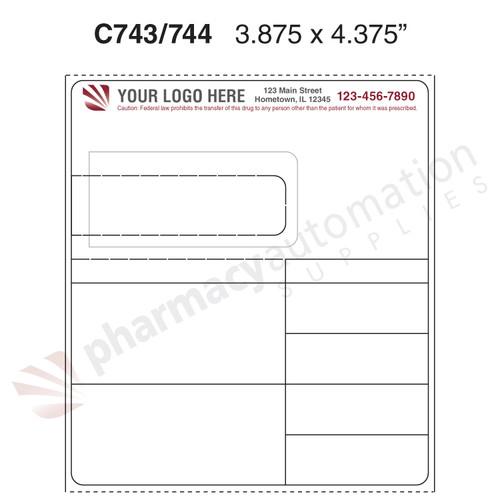 "Custom 3.875"" x 4.375""Thermal Transfer Rx Label - Form C743/744"