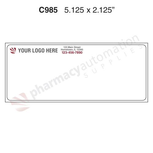 "Custom 2.125"" x 5.125"" Thermal Transfer Rx Label - Form C985"