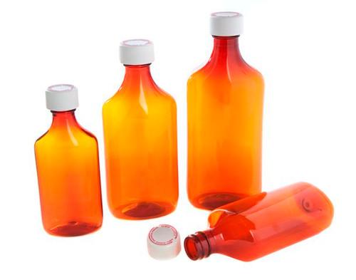 Premium Plastic Liquid Ovals with Child-Resistant Caps