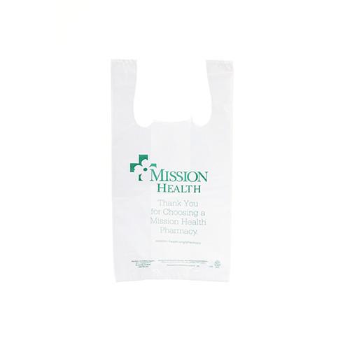 "Custom Printed LDPE Plastic T-Shirt Style Bag - 9"" x 6"" x 18"""