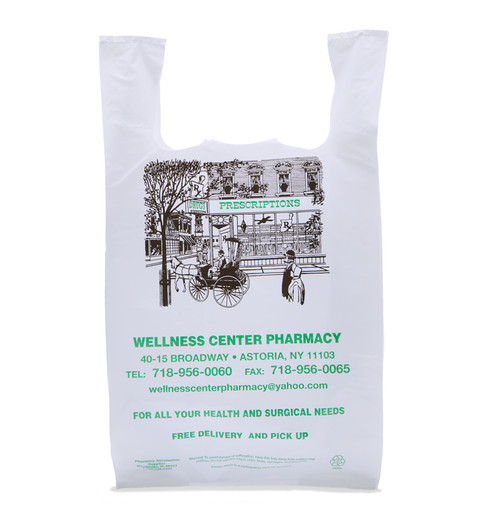 """Custom Printed LDPE Plastic T-Shirt Bag - 11.75"""" x 7.5"""" x 22"""""""