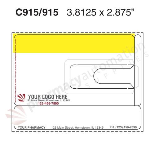 "Custom 3.8125"" x 2.875"" Direct Thermal Label - Form C914/915"