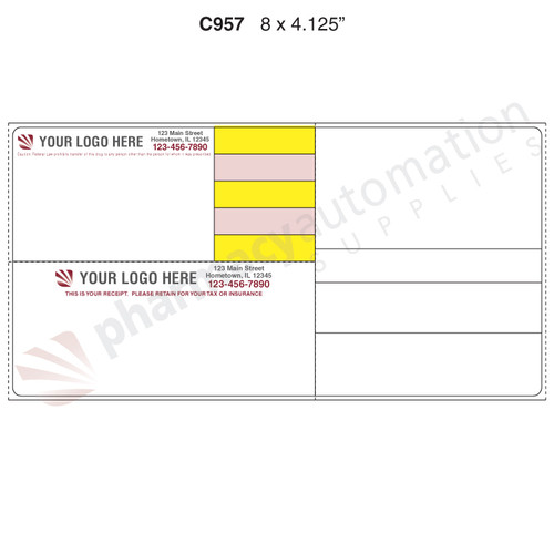 "Custom 4.125"" x 8"" Direct Thermal Label - Form C957"
