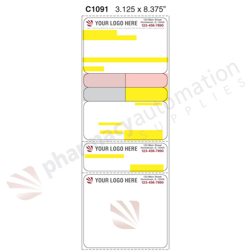 "Custom 3.125"" x 8.375"" Direct Thermal Label - Form C1091"