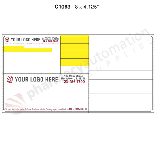 "Custom 4.125"" x 8"" Direct Thermal Label - Form C1083"