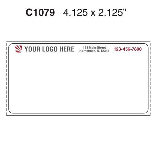 "Custom 4.125"" x 2.125"" Direct Thermal Label - Form C1079"