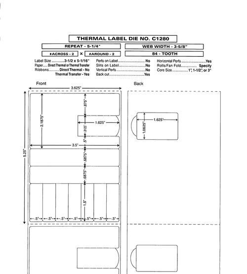 "Custom 3.625"" x 5.25"" Direct Thermal Label - Form C1280"