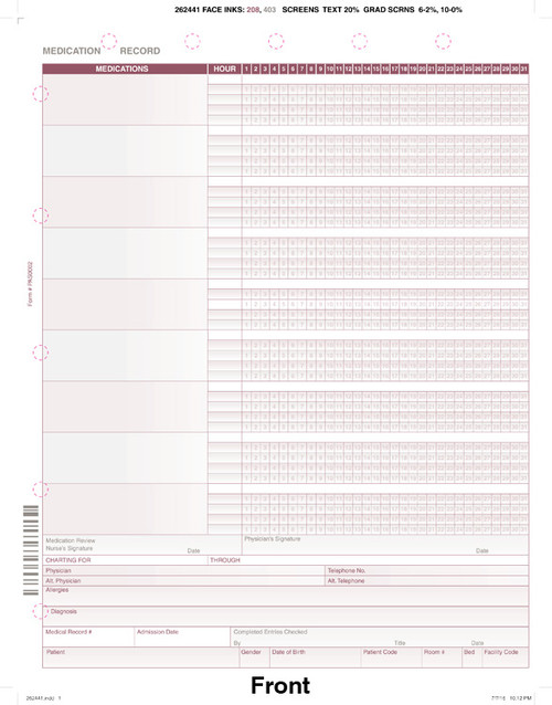 "Custom 8.5"" x 11"" Medication Admin Record  (MAR) Form"