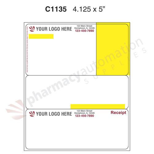 "Custom 4.125"" x 5"" Direct Thermal Rx Label - Form C1135-4C"