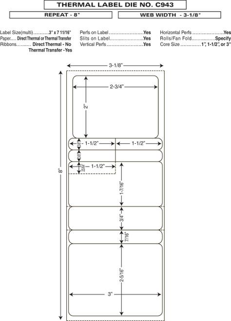 "Custom 3.125"" x 8"" Direct Thermal Prescription Label - Form C943"