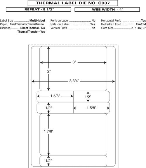 "Custom 4"" x 5.5"" Direct Thermal Prescription Label - Form C937"