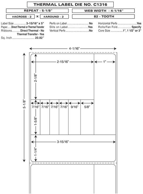 "Custom 4.0625"" x 5.125"" Direct Thermal Prescription Label - Form C1316"