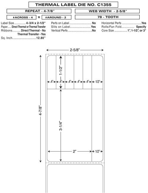 "Custom 2.625"" x 4.875"" Direct Thermal Prescription Label - Form C1355"