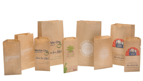 Custom Printed Brown Kraft Paper Rx Bags