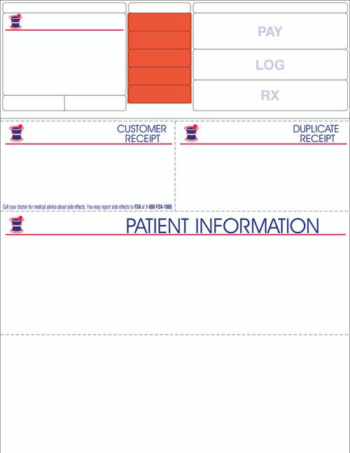 "Stock 8.5"" x 11"" Prescription Laser Label - Form LM010 (w/FDA line)"