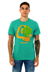 """Spinach Shirt in American Sign Language. ASL sign for Spinach on a blue background with the word """"Spinach"""" beneath. Perfect for deaf people, new signers and ASL students."""