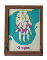 """A teal, purple and green print on a white background in a dark wooden frame. The American Sign Language sign for """"grapes"""" appears on the print."""