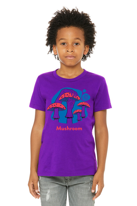 """Mushroom Shirt in American Sign Language. ASL sign for Mushroom on a purple background with the word """"Mushroom"""" beneath. Perfect for Deaf people, new signers and ASL students."""