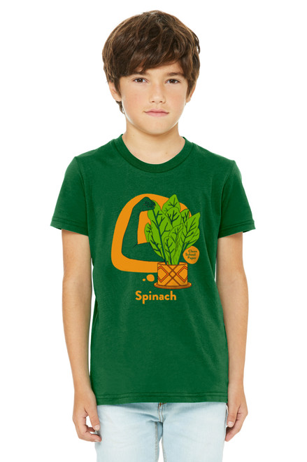 """Spinach Shirt in American Sign Language. ASL sign for Spinach on a yellow background with the word """"Spinach"""" beneath. Perfect for Deaf people, new signers and ASL students."""