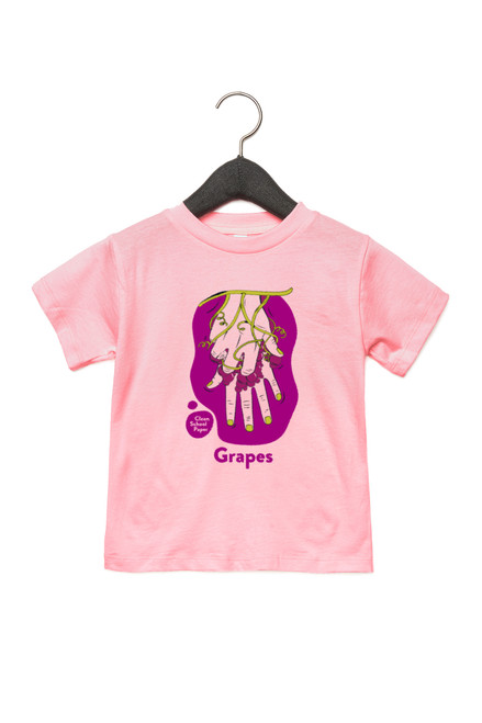 """Grapes Shirt in American Sign Language. ASL sign for Grapes on a pink background with the word """"Grapes"""" beneath. Perfect for Deaf people, new signers and ASL students."""