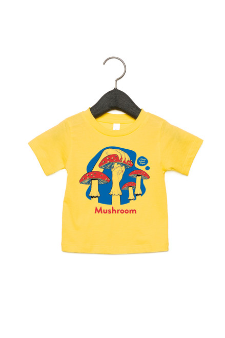 """Mushroom Baby Shirt in American Sign Language. ASL sign for Mushroom on a bright yellow background with the word """"Mushroom"""" beneath. Perfect for Deaf people, new signers and ASL students."""