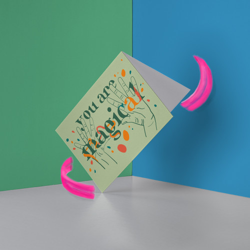 """You Are Magical - Mint Green ASL Greeting Card. Send a note saying """"magical"""" in American Sign Language!"""