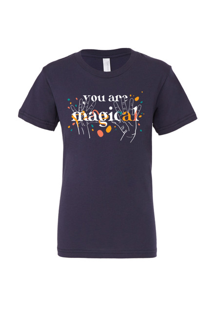 """You Are Magical in American Sign Language. ASL sign for magic / magical on a sailor navy background with the English words """"you are magical."""" Perfect for deaf kids, CODAs and kids who love ASL!"""