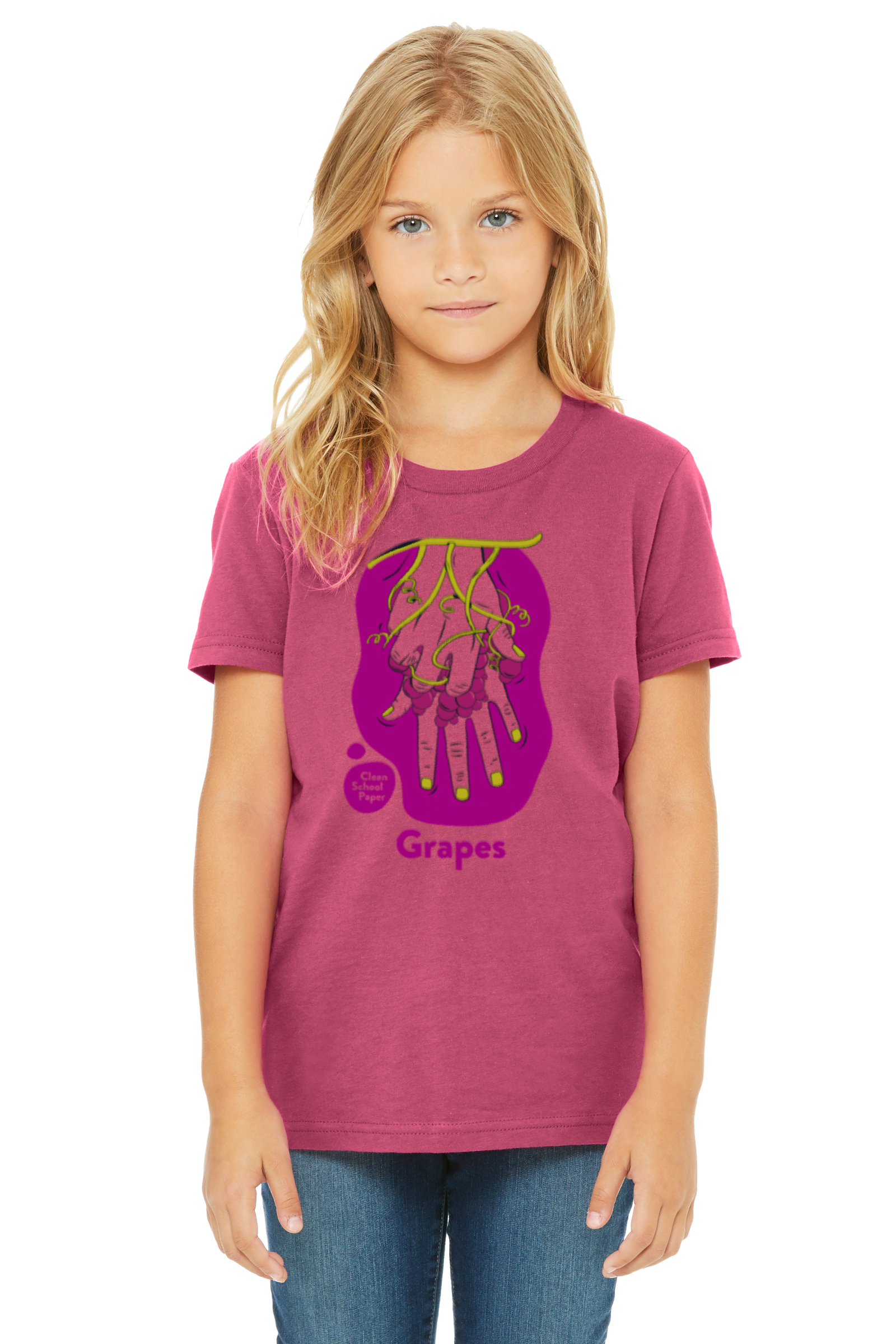 """ASL, American Sign Language Grapes T-Shirt. The ASL sign for """"grapes"""" on a berry t-shirt, worn by a young girl."""