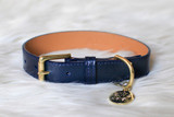 Dog Collar - Chelsea_Walk_Navy Handmade Woof New York_www.hugoandotto.com
